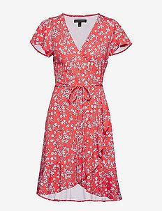 Floral Soft Ponte Ruffle Wrap Dress - CORAL