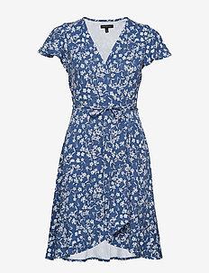 Floral Soft Ponte Ruffle Wrap Dress - INDIGO FOG GLOBAL