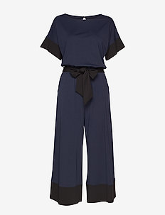 Soft Ponte Wide-Leg Cropped Jumpsuit - PREPPY NAVY