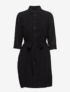 Utility Shirt Dress - shirt dresses - black k-100