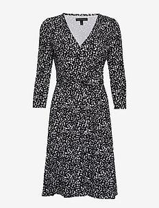 Printed Soft Ponte Wrap Dress - BLACK DOT GLOBAL