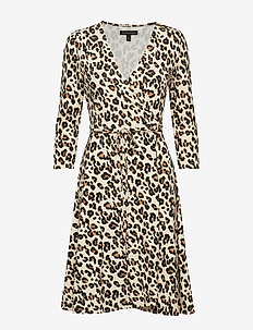 Printed Soft Ponte Wrap Dress - LEOPARD PRINT