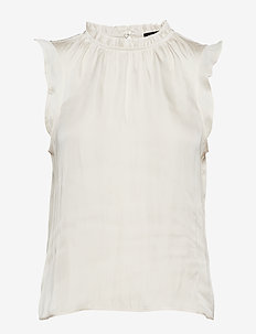 SL RUFFLE NECK TOP SOLIDS - SNOW DAY