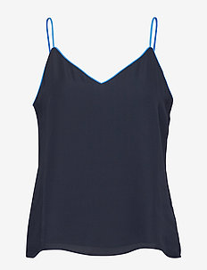 Strappy Camisole with Piping - PREPPY NAVY
