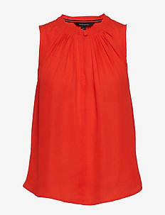SL PLEATED NECK TOP - HOT RED