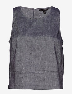 Linen-Cotton Button-Back Tank - WASHED INDIGO