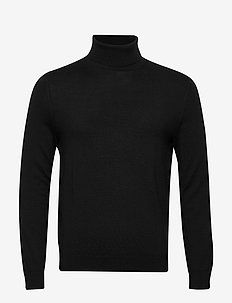 Italian Merino Turtleneck Sweater - basic knitwear - black
