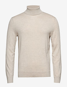 Italian Merino Turtleneck Sweater - basic knitwear - light oatmeal heather