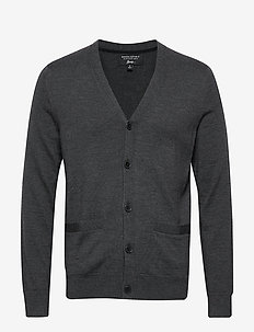 Italian Merino Cardigan Sweater - basic knitwear - dark charcoal