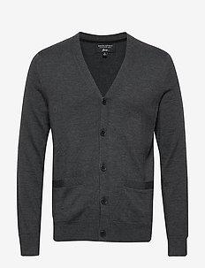 Italian Merino Cardigan Sweater - DARK CHARCOAL