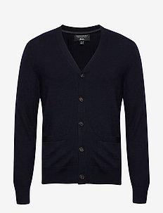 Italian Merino Cardigan Sweater - PREPPY NAVY