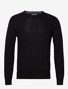 Italian Merino Crew-Neck Sweater - basic knitwear - black