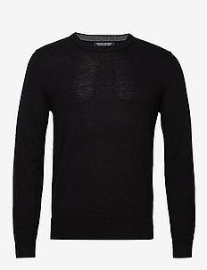Italian Merino Crew-Neck Sweater - basic strik - black