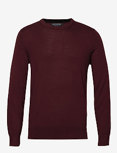 Italian Merino Crew-Neck Sweater - basic strik - burgundy