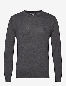 Italian Merino Crew-Neck Sweater - DARK CHARCOAL