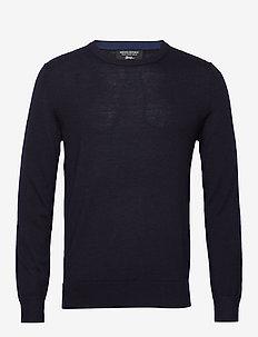 Italian Merino Crew-Neck Sweater - basic knitwear - preppy navy