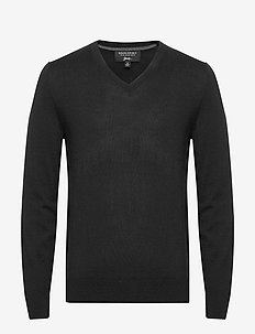 Italian Merino V-Neck Sweater - basic gebreide truien - black