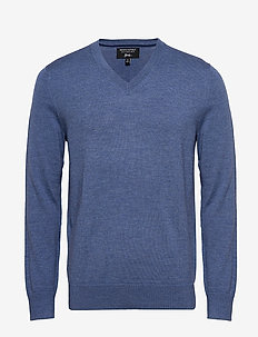 Italian Merino V-Neck Sweater - COUNTRY SIDE BLUE