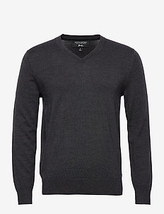 Italian Merino V-Neck Sweater - basic strik - dark charcoal heather
