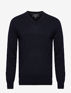 Italian Merino V-Neck Sweater - basic strik - preppy navy