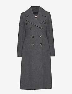 Italian Melton Long Coat - wool coats - grey