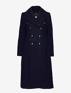 Italian Melton Long Coat - wool coats - navy