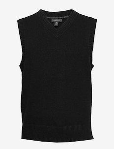 V-Neck Sweater Vest - BLACK