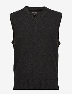 V-Neck Sweater Vest - CHARCOAL HEATHER