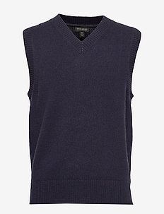 V-Neck Sweater Vest - basic gebreide truien - preppy navy