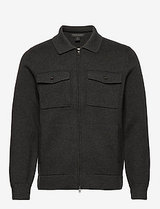 SUPIMA® Cotton Sweater Jacket - basic knitwear - dark charcoal