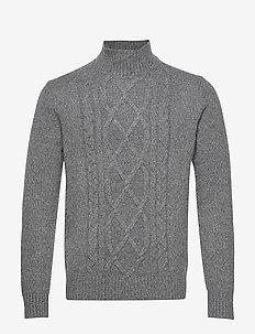 Wool-Blend Mock-Neck Sweater - DARK GREY