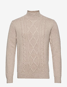 Wool-Blend Mock-Neck Sweater - basic knitwear - stone