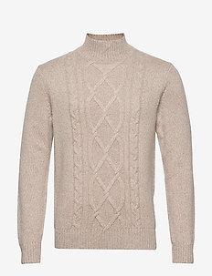 Wool-Blend Mock-Neck Sweater - basic strik - stone