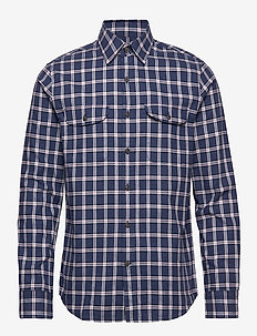 Untucked Slim-Fit Flannel Shirt - PURPLE/BLUE2
