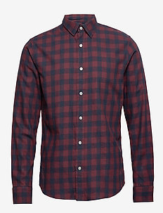 Slim-Fit Flannel Shirt - NOVEL BURGUNDY