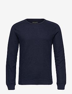 Core Temp Waffle-Knit T-Shirt - basic t-shirts - preppy navy