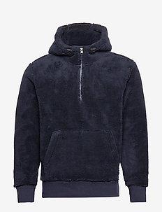 Sherpa Half-Zip Hoodie - basic sweatshirts - preppy navy