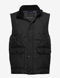 Water-Resistant Quilted Vest - BLACK