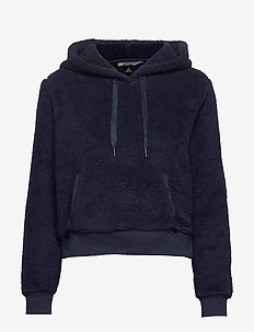Cropped Sherpa Fleece Hoodie - PREPPY NAVY