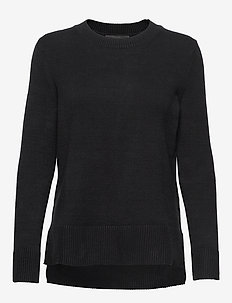 Super Soft Cotton Hi-Low Hem Sweater - pulls - black