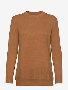 Super Soft Cotton Hi-Low Hem Sweater - pulls - camel