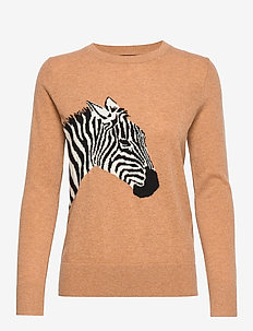 Italian Wool-Blend Zebra Sweater - tröjor - camel with intarsia