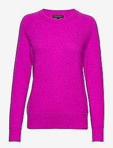 Italian Merino-Blend Crew-Neck Sweater - NEON FUSCHIA