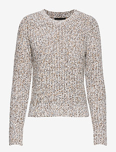 Chunky Pointelle Cropped Sweater - pulls - multi / natural
