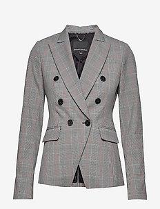 Double-Breasted Plaid Blazer - skræddersyede blazere - black/blanco