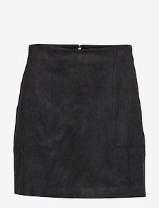 Vegan Suede Mini Skirt - BLACK K-100