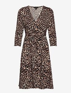 Print Jersey Wrap Dress - LEOPARD