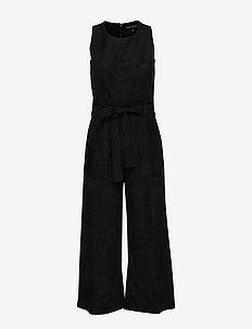 Vegan Suede Cropped Wide-Leg Jumpsuit - jumpsuits - black k-100