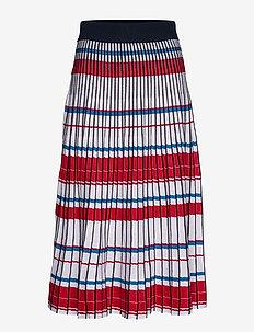Pleated Knit Midi Skirt - jupes midi - blue multi