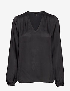 Soft Satin Smocked Blouse - BLACK
